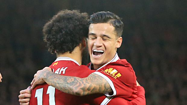 Mohamed Salah, left, and Philippe Coutinho