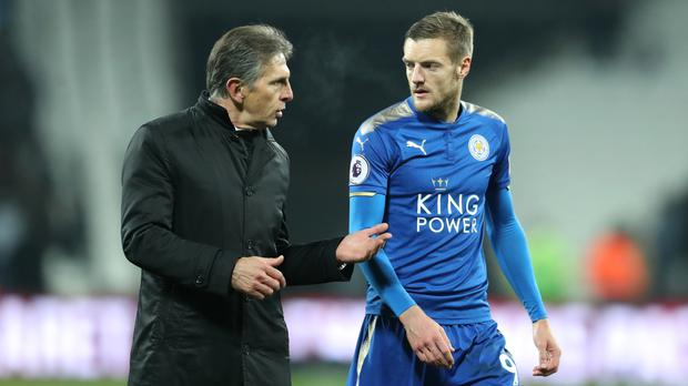Claude Puel, left, has been thrilled with Jamie Vardy