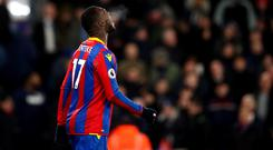Crystal Palace's Christian Benteke rues his penalty miss during the Premier League match at Selhurst Park, London.