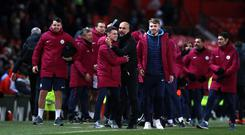 Manchester City celebrate at full-time at Old Trafford