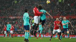 Manchester United's Romelu Lukaku heads home against Bournemouth