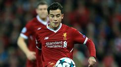 Philippe Coutinho was restored to Liverpool's starting line-up