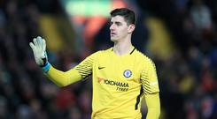 Goalkeeper Thibaut Courtois says Chelsea must keep winning to be in a position to exploit any slip up by Premier League leaders Manchester City
