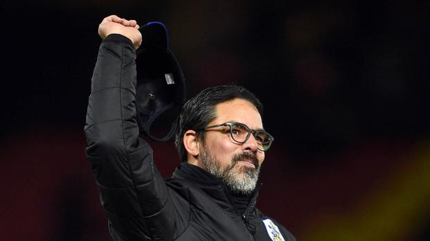David Wagner celebrates last week's 4-1 win at Watford
