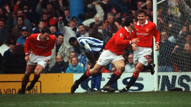 Eric Cantona grabbed an equaliser for Manchester United at Hillsborough