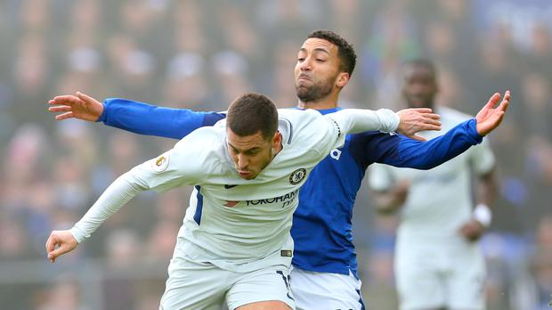 Eden Hazard, left, and Chelsea were left frustrated at Goodison Park