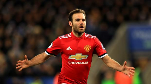 Manchester United's Juan Mata scored a brace against Leicester