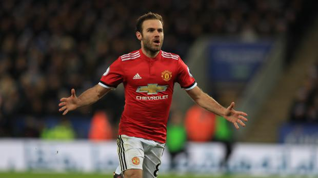 Manchester United's Juan Mata scored twice but Leicester drew level late on