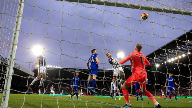 West Brom's Craig Dawson misses a fine chance during their 0-0 draw with Everton