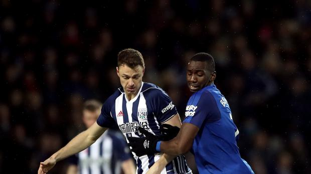 Everton's Yannick Bolasie challenges West Brom's Jonny Evans in the 0-0 draw on Boxing Day.