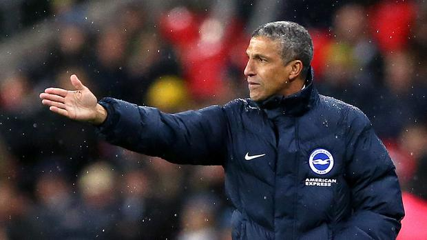 Chris Hughton's Brighton have not taken a single point off the top six clubs this season