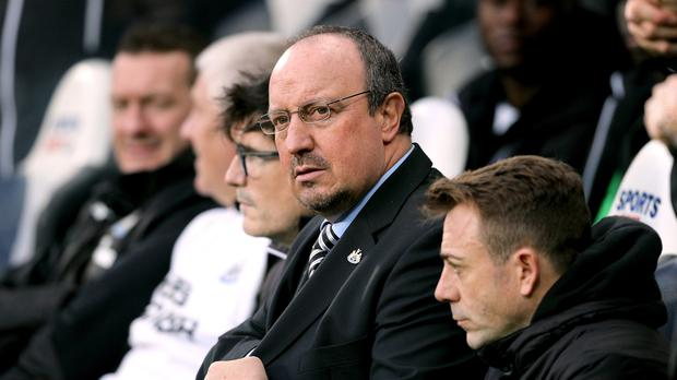 Newcastle manager Rafael Benitez watches on as his side are held by Brighton