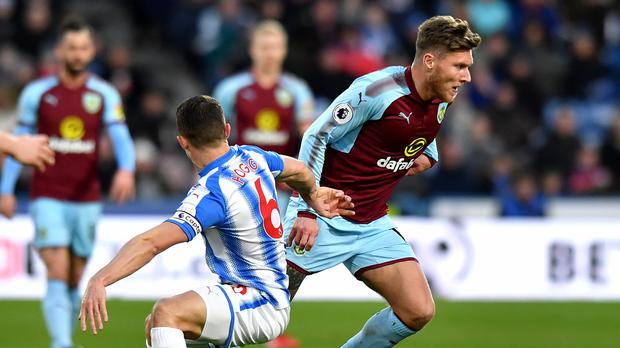 Jeff Hendrick, right, was on the wrong end of a controversial penalty decision at Huddersfield