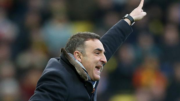 Carlos Carvalhal was animated on the touchline as his first game as Swansea boss ended in victory over Watford
