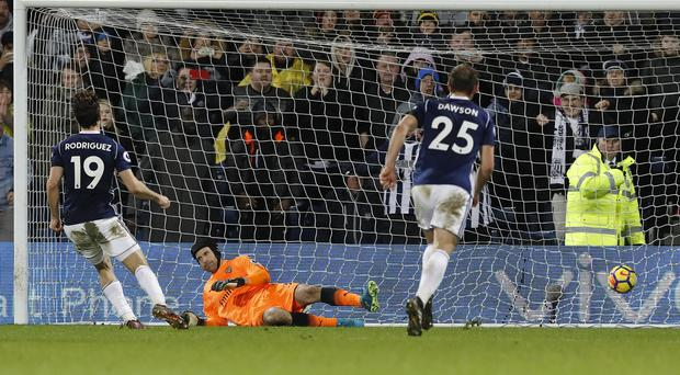 Jay Rodriguez, left, scored a late penalty in West Brom's 1-1 draw with Arsenal