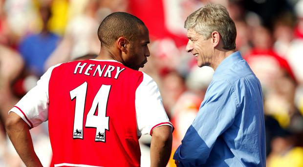 Thierry Henry, left, chats with Arsene Wenger