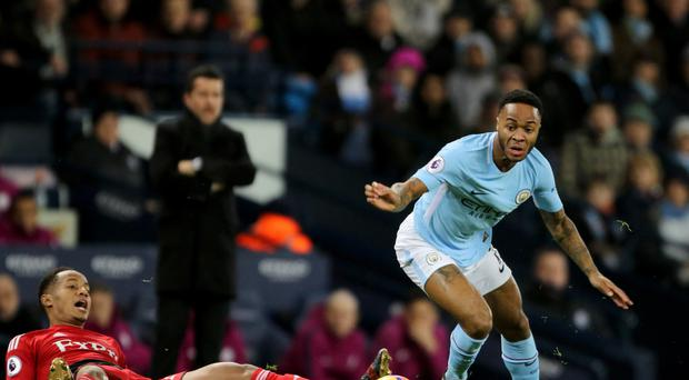Raheem Sterling (right) have Manchester City the lead against Watford inside a minute