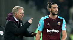 West Ham manager David Moyes and Andy Carroll