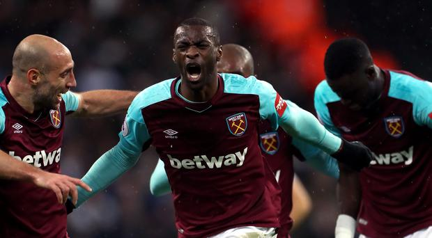 Pedro Obiang, centre, scored a stunning opener for West Ham