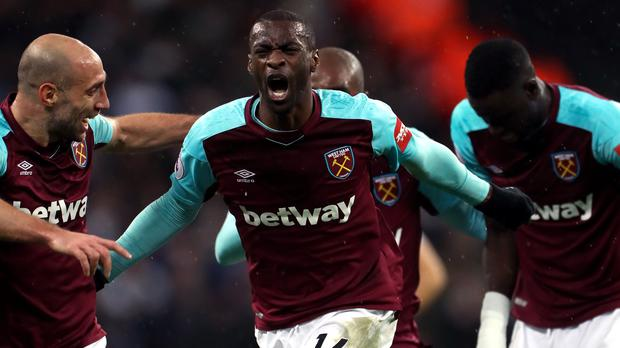 Pedro Obiang, centre, opened the scoring for West Ham