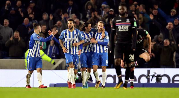 Glenn Murray (right) celebrates scoring his side's second goal of the game