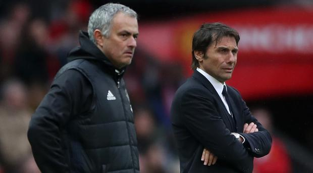 There is no love lost between Antonio Conte, pictured right, and Jose Mourinho