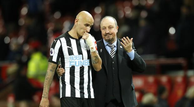 Newcastle United manager Rafael Benitez (right) has no intention of selling Jonjo Shelvey in January