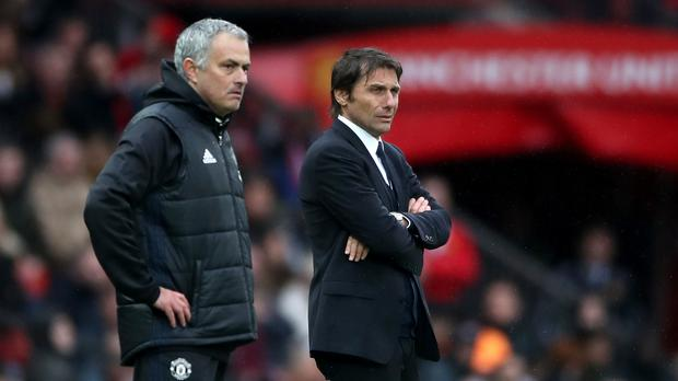 Jose Mourinho, left, and Antonio Conte have been involved in a bitter feud