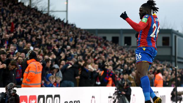 Crystal Palace's Bakary Sako celebrates his winner against Burnley