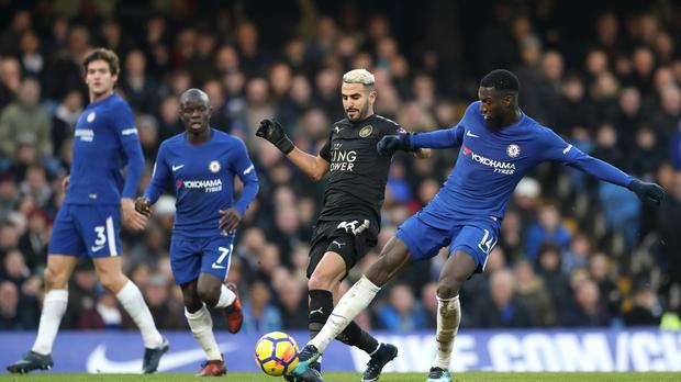 Leicester's Riyad Mahrez, centre, could not find the breakthrough against Chelsea