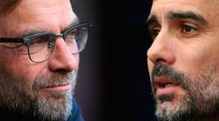 Jurgen Klopp and Pep Guardiola come face to face at Anfield today Photo: Getty