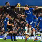 Chelsea's defender Cesar Azpilicueta challenges for the ball with Leicester City's Wilfred Ndidi Photo: Getty