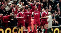 Liverpool's Stan Collymore celebrates his famous winner against Newcastle