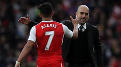 Pep Guardiola, right, will not be reunited with Alexis Sanchez, left, at Manchester City