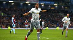 Anthony Martial celebrates his 11th goal of the season
