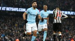 Sergio Aguero scored all three goals as Manchester City beat Newcastle