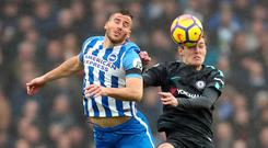 Brighton's Tomer Hemed and Chelsea's Andreas Christensen battle for the ball. Photo: Gareth Fuller
