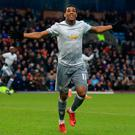 Manchester United's Anthony Martial celebrates after scoring. Photo: Lindsay Parnaby/AFP Photo