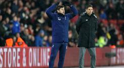 Mauricio Pochettino gestures on the touchline during the match at St Mary's