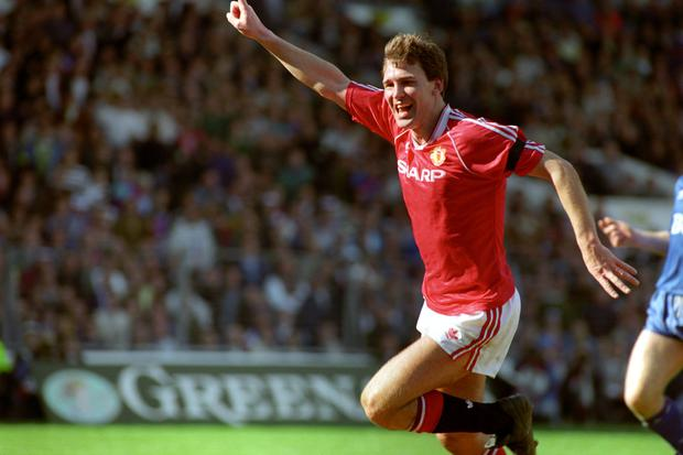 Bryan Robson pictured during his playing days for Manchester United