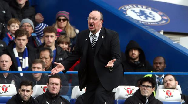 Newcastle boss Rafael Benitez gestures on the touchline