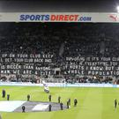 Newcastle fans displayed a banner quoting former manager Kevin Keegan