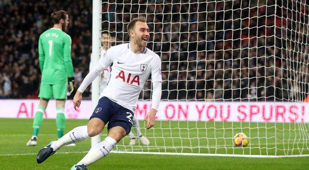 Tottenham's Christian Eriksen scored after only 11 seconds against Manchester United (Adam Davy/PA)