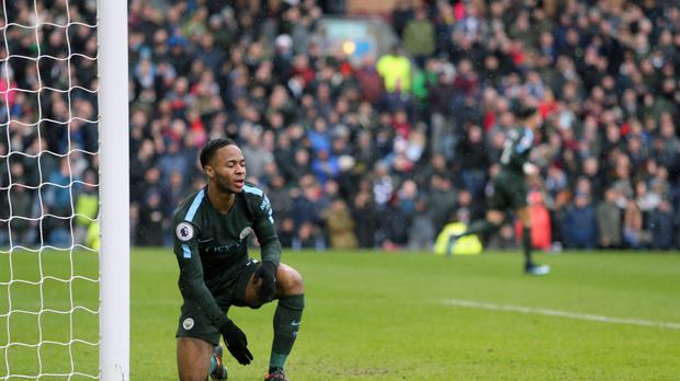 Raheem Sterling missed an open goal as Manchester City were held by Burnley Richard Sellars/PA)