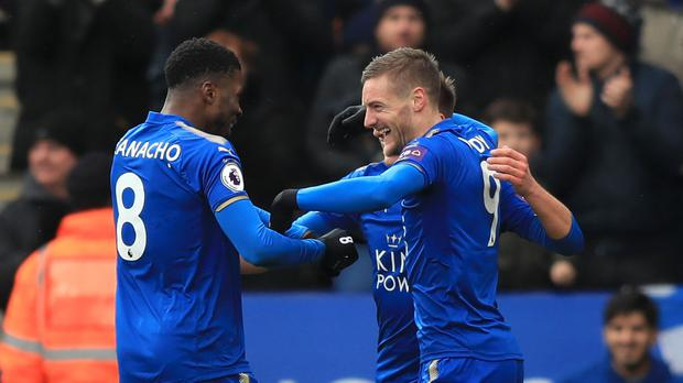 Jamie Vardy, pictured right, put Leicester ahead
