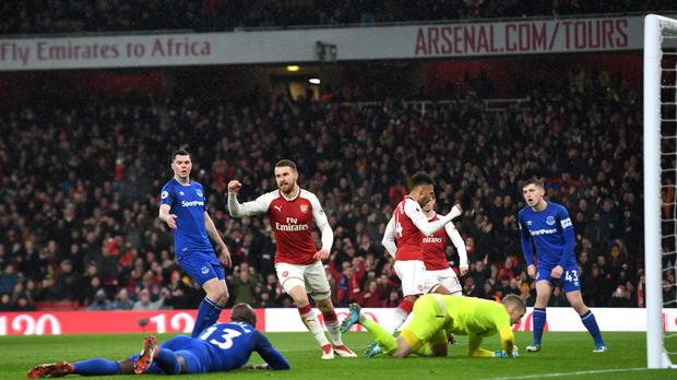 Aaron Ramsey (second from left) scored two early goals as Arsenal saw off Everton (Victoria Jones/PA Wire)