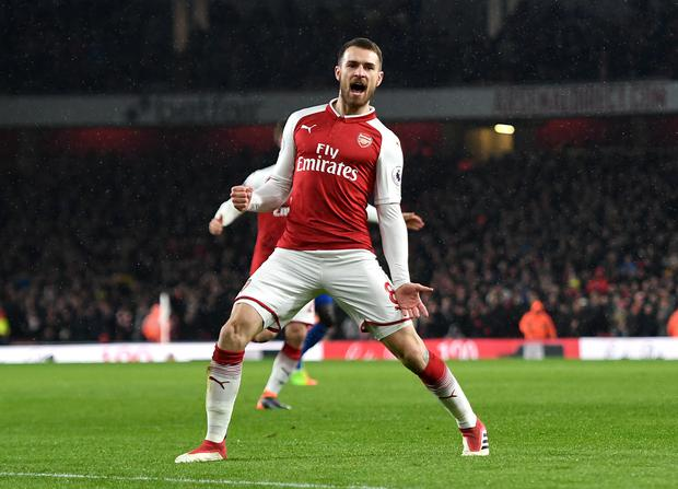 Arsenal midfielder Aaron Ramsey produced a stand-out display as Everton were swept aside at the Emirates Stadium (Victoria Jones/PA Wire)