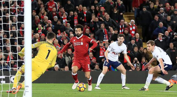 Liverpool's Mohamed Salah scores his side's second