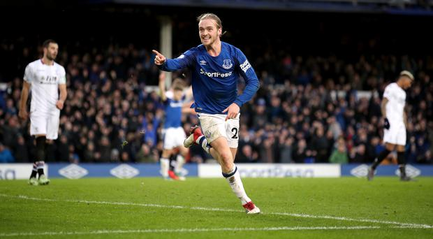 Everton's Tom Davies celebrates scoring his side's third goal