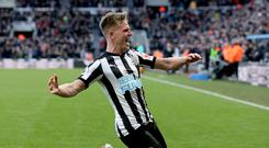 Matt Ritchie celebrates his winner for Newcastle